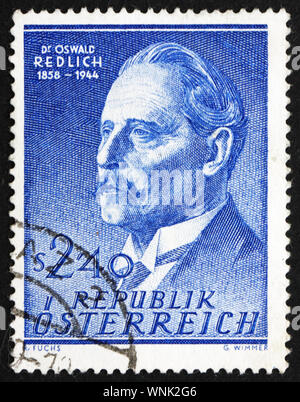 AUSTRIA - CIRCA 1958: a stamp printed in the Austria shows Oswald Redlich, Historian, circa 1958 - Stock Photo
