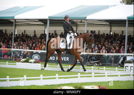 Stamford, UK. 06th Sep, 2019. Friday 6th September 2019. Land Rover Burghley Horse Trials, Stamford, Lincolnshire UK. Dressage phase day 2 of 4. Matthew Heath riding The Lion Credit: Julie Priestley/Alamy Live News - Stock Photo