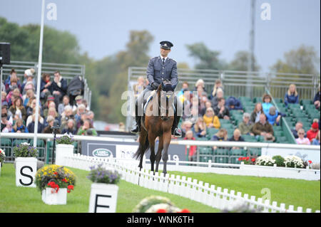 Stamford, UK. 06th Sep, 2019. Friday 6th September 2019. Land Rover Burghley Horse Trials, Stamford, Lincolnshire UK. Dressage phase day 2 of 4. Johan Lundin riding Mind Me Credit: Julie Priestley/Alamy Live News - Stock Photo
