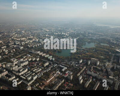 Bucharest Cityscape drone sights Romania - Stock Photo