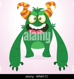 Happy green monster. Vector Halloween  monster character smiling and waving. Vector solated on light background - Stock Photo