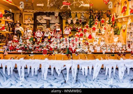 Salzburg, Austria.  SALZBURG, AUSTRIA - DECEMBER 23, 2018: Handcrafted Traditional Christmas tree decorations in Salzburg Christmas Market. - Stock Photo