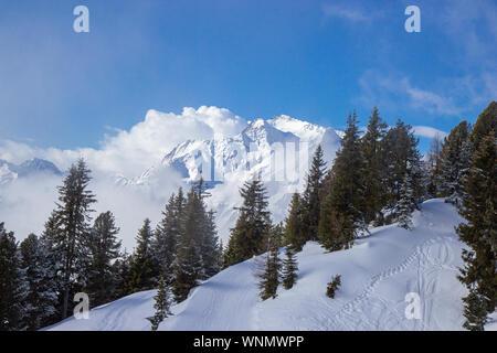 view of Mayrhofen ski resort in winter time, Austria - Stock Photo