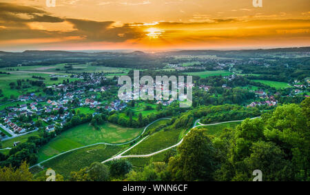 Vineyards near Chateau Chalon in the Franche Comté area in France - Stock Photo