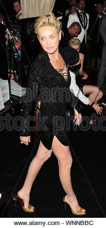 Cannes, France - Sharon Stone at Roberto Cavalli's annual yacht party at Cannes Harbor during the 67th Annual Cannes Film Festival in Cannes, France. AKM-GSI May 21, 2014 - Stock Photo