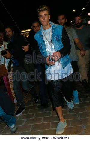 Cannes, France - Justin Bieber at the 'Roberto Cavalli Annual Party Aboard' as part of the 67th Cannes Film Festival in Cannes, France AKM-GSI May 21, 2014 - Stock Photo