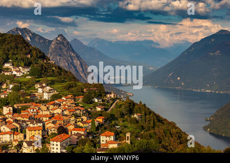 A view of Bre village on Ticino - Stock Photo