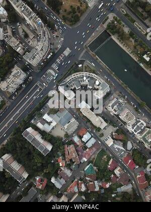 Bucharest Cityscape drone sights Romania - Stock Photo