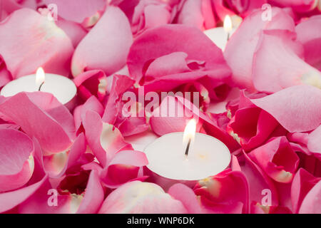 Tea Light Candles Amidst Pink Rose Petals - Stock Photo