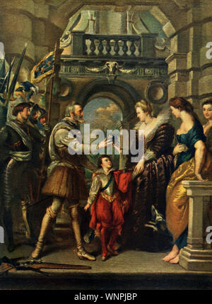 This painting  by P.P. Rubens (1577-1640) shows King Henry IV (died  of France and his wife Maria de' Medici  (died 1642). Here we see the king just before his departure to the war against Germany. It is housed in the Louvre in Paris. This one is titled Consignment of the Regency and is part of the Henry IV Cycle that was commissioned by Marie de' Medici. Here, Henry IV entrusts Marie with both the regency of France and the care of the dauphin shortly before his war campaigns and eventual death. To the right of Marie is the figure Prudence. - Stock Photo