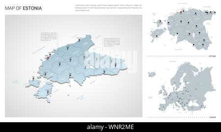 Vector set of Estonia country.  Isometric 3d map, Estonia map, Europe map - with region, state names and city names. - Stock Photo