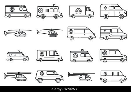 Rescue ambulance icons set. Outline set of rescue ambulance vector icons for web design isolated on white background - Stock Photo
