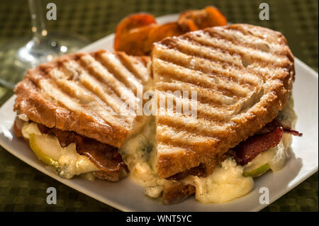 Grilled Blue Cheese and Fontina Panini - Stock Photo