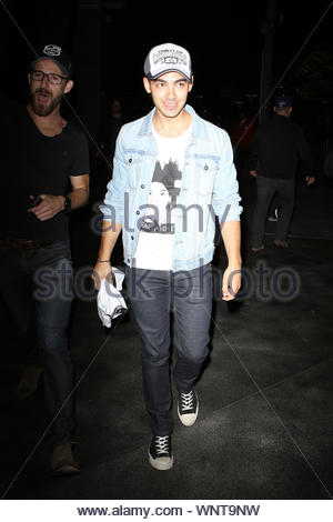 Los Angeles, CA - Joe Jonas attends the Kings Game for the NHL Stanley Cup Finals, held at the Staples Center in Los Angeles. AKM-GSI June 13, 2014 - Stock Photo