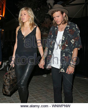 London, UK - Ellie Goulding and Dougie Poynter exit Chiltern Firehouse after a fun night with friends. AKM-GSI June 24, 2014 - Stock Photo