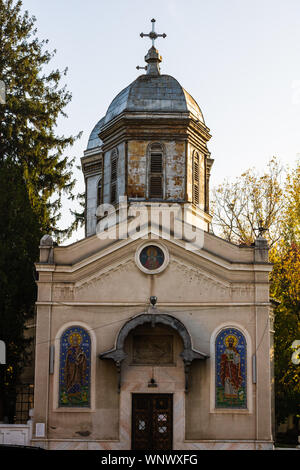 Orthodox church in sunrise light, Bucharest, Romania - Stock Photo