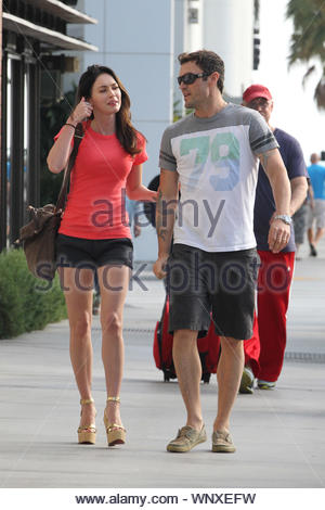 Santa Monica, CA - Brian Austin Green and Megan Fox look inseparable while taking a walk in Santa Monica after spending the afternoon together shopping and eating. The happy married couple first dined at 'Houston's Restaurant' for over 2 hours, sharing a bottle of wine and talking non stop. When they finally finished, they walked up and down the Santa Monica Promenade, watching the street performers and doing a bit of window shopping at the high end boutiques. GSI Media July 07, 2011 - Stock Photo