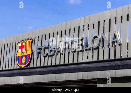 Barcelona, Spain - February 18, 2019 - FC Barcelona logo on exterior of Camp Nou stadium - Stock Photo