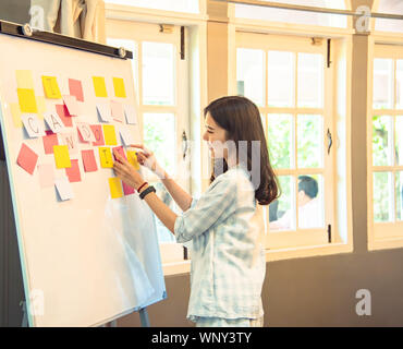 Happy young asian businesswoman with colored sticky notes ,posted notes on white board with erasable marker in office.Start up home business informati - Stock Photo