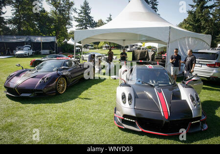 Vancouver, Canada. 6th Sep, 2019. Pagani Huayra Roadsters are displayed during the media preview of the 10th annual Luxury and Super Weekend show in Vancouver, Canada, on Sept. 6, 2019. The 10th Luxury and Supercar Weekend is open to the public from Sept. 7 to Sept. 8, presenting makes like Rolls-Royce, Bugatti Veyron, etc. Credit: Liang Sen/Xinhua - Stock Photo