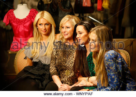Beverly Hills, CA - Paris Hilton was out today with her dog filming her new reality show with sidekick Brooke Mueller at the Beverly Glen Mall this afternoon. Paris and Brooke met up with Paris's mom Kathy Hilton and aunt Kyle Richards, who is also starring in her own reality TV show, 'The Real Housewives of Beverly Hills'. All the ladies posed on a couch in a shopping boutique and shared a few laughs with each other. GSI Media December 2, 2010 - Stock Photo