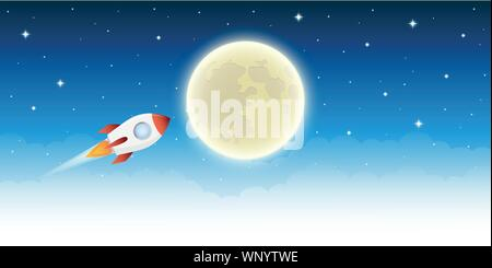 space ship flying in to space to the moon in starry sky vector illustration EPS10 - Stock Photo