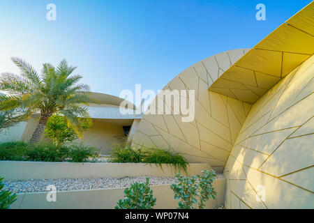 DOHA QATAR - JULY 10 2019;National Museum of Qatar unusual but striking design form is inspired by desert rose crystal opened in March 2019  designed - Stock Photo