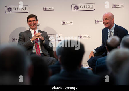 Secretary of Defense Dr. Mark T. Esper delivers remarks at the Royal United Services Institute, or RUSI, London, England, Sept. 6, 2019. (DoD photo by Lisa Ferdinando) - Stock Photo