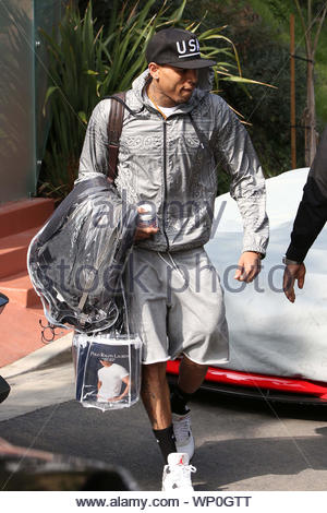 Los Angeles, CA - Rihanna shows her support for on-and-off-again boyfriend Chris Brown as the couple leave his home today, getting ready to head over to court for a progress report. The pair, who made sure to leave separately, also spent a late night together yesterday leaving a recording studio after a five-hour session in Beverly Hills. AKM-GSI February 6, 2013 - Stock Photo