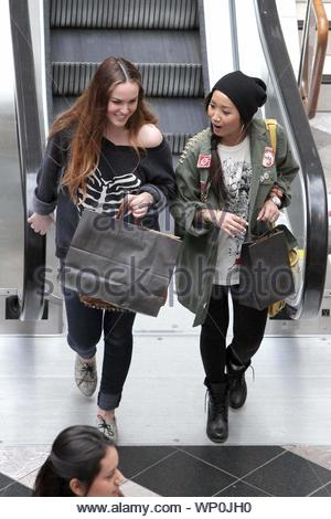 Canoga Park, CA - Actress Brenda Song went shopping with a friend at the West Fields Mall in Canoga Park and checked out stores ilk Urban Outfitters and Brandy Melville, where it looked like she was eyeing a lot of items . Brenda is filming a TV movie called 'Table for Three' and is also part of an upcoming film 'Boogie Town'. AKM-GSI April 14, 2012 - Stock Photo