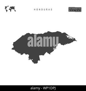 Honduras Blank Map Isolated on White Background. High-Detailed Black Silhouette Map of Honduras. - Stock Photo