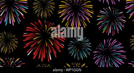 seamless repeat background pattern of colorful fireworks - Stock Photo