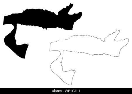 Samana (Dominican Republic, Hispaniola, Provinces of the Dominican Republic) map vector illustration, scribble sketch Samaná map - Stock Photo