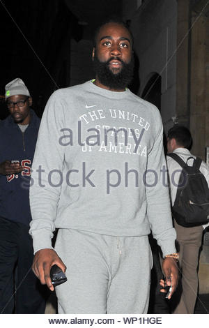 London, UK - OKC Thunder players, Kevin Durant and James Harden go for a night time stroll at Mayfair in London dressed in U.S.A. sweats. The U.S. men's Olympic basketball team beat Lithuania with a 99-94 score. AKM-GSI August 3, 2012 - Stock Photo