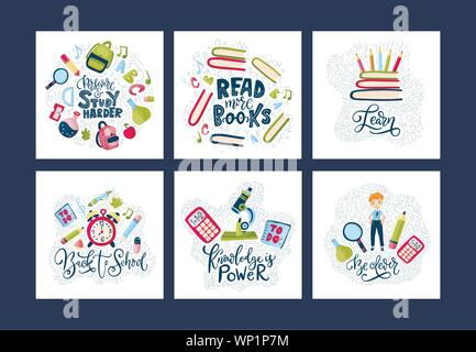 Vector school card set. Back to school poster collection with education supplies, books and lettering quotes in cartoon flatt and doodle style. Stationery illustration. - Stock Photo