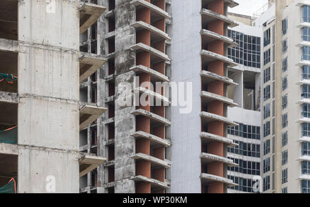 Massive partially completed residential Development and Construction Site in Ho Chi Minh City, Vietnam, South East Asia - Stock Photo