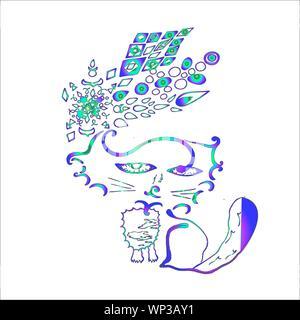 Color illustration of psychedelic Kota. Patterns, friends, meditation. - Stock Photo