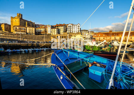 Colorful fishing boats moored at Getaria port, Basque Country, Spain Stock Photo