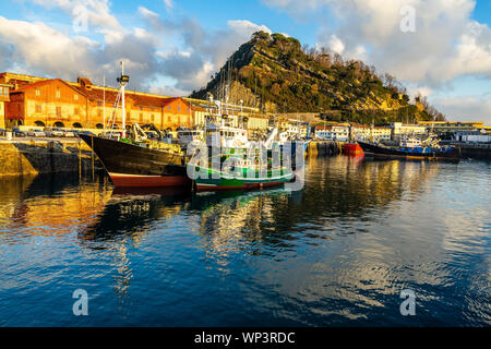 View of Getaria port, a typical fishing town in Gipuzkoa province, Basque Country, Spain Stock Photo