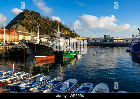 View of Getaria port, a typical fishing town in Gipuzkoa province, Basque Country, Spain - Stock Photo