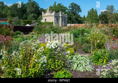 Herbaceous borders in Walled Garden at Floors Castle near Kelso, Scottish Borders, Scotland, UK - Stock Photo