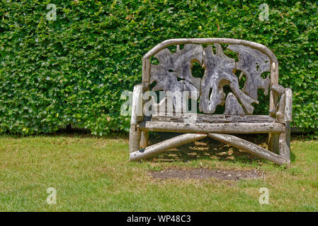 Ornate Rustic Wooden Garden Bench Seat Made From