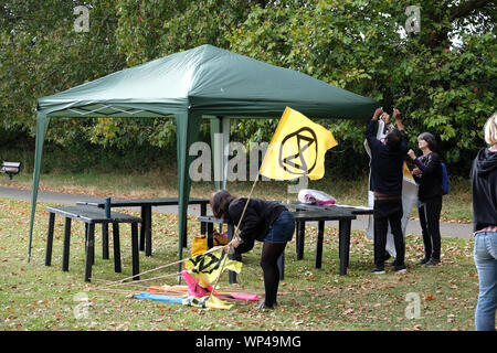 Downhills Park, London, UK. 7th September 2019. Extinction Rebellion climate change protesters starting their North London Uprising. Credit: Matthew Chattle/Alamy Live News - Stock Photo