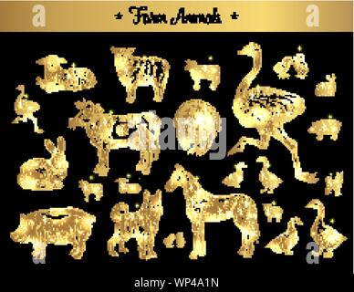 Set of isolated vintage golden and royal sketches of farm animals. Pig or swine, dog and horse, farm or rabbit, bunny and cow, ostrich or camel-bird, turkey and chickens, duck. Domestic animals theme - Stock Photo
