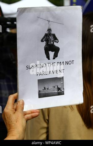SUSPEND THE PM NOT PARLIAMENT SIGN HELD BY PRO BREXIT PROTESTER IN WESTMINSTER,LONDON ON 3RD SEPTEMBER 2019. PROROGUING OF PARLIAMENT. STOP PROROGUING OF PARLIAMENT. PROROGUE. STOP PROROGATION.  POLITICAL SIGN. - Stock Photo