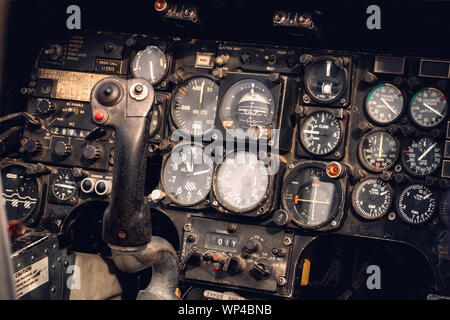Vintage military helicopter control panel - Stock Photo