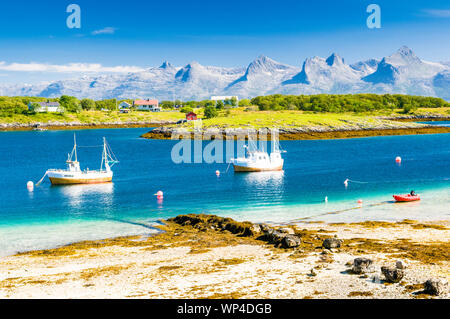 The mountains Seven Sisters in Northern Norway seen from the island Herøy.