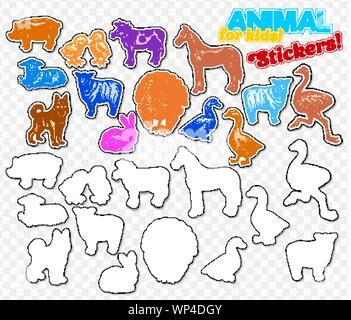 farm animals set in sketch style on colorful stickers isolated on transparent background can be used for cute kids coloring book or game include silhouette for paper cutting horse turkeycow chickencowsheep ostrich goose duck pork lamb and rabbit wp4dgy