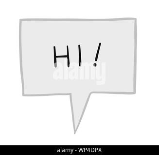Vector illustration hi in speech bubble. Hand drawn. Colored outlines. - Stock Photo