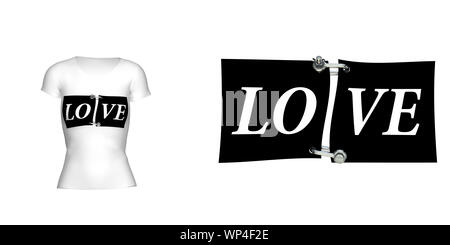 The inscription 'Love' on the women's t-shirt. For clarity, attached t-shirt with this inscription. Isolated white background. 3D illustration - Stock Photo